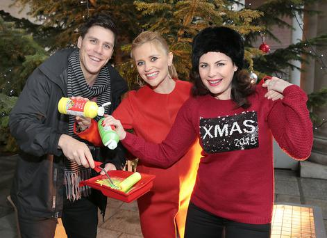 Peter O'Riordan, Karen Koster and Lisa Cannon lend their support to TV3's #Hand4Homelessness campaign. Photo: Brian McEvoy