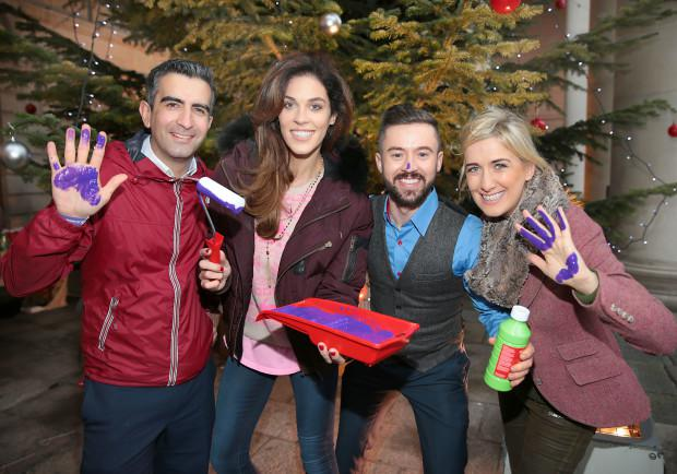 Tv3 Stars Tommy Martin ,Glenda Gilson ,Deric Hartigan and Ciara Doherty join in the attempt to break a Guinness World Record All in aid of Focus Irelands #Hand4Homelessness fundraising initiative Pictures Brian McEvoy