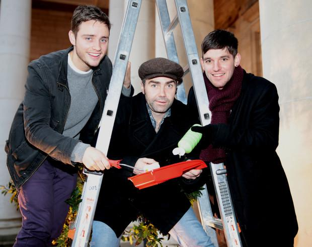 Red Rock Actors Patrick Ryan, Darren Cahill and Adam Weafer join in the attempt by Tv3 Stars to break a Guinness World Record All in aid of Focus Irelands #Hand4Homelessness fundraising initiative Pictures Brian McEvoy