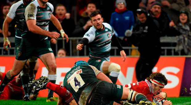 Munster hooker Mike Sherry scores a try against Leiciester in Thomond Park, something which he admits the Reds are not doing enough of. Picture credit: Diarmuid Greene / SPORTSFILE
