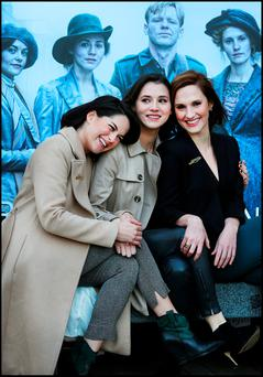Actresses Sarah Greene, Charlie Murphy and Ruth Bradley at a press screening of RTE's new 1916 drama, 'Rebellion'. Photo: Steve Humphreys