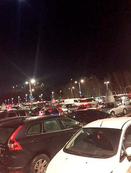 Handout photo dated 21/12/15 taken with permission from the Twitter feed of @EmmieLouX of last-minute Christmas shoppers left stranded for hours after heavy traffic blocked car park exits at Bluewater Shopping Centre in Kent
