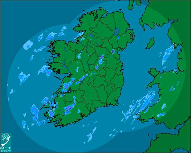 Rainfall for Ireland on Tuesday, December 22 Credit: Met Éireann