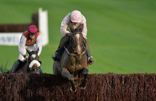 Vroum Vroum Mag, with Ruby Walsh up, jumps the last on their way to winning the European Breeders Fund T.A. Morris Memorial Mares Steeplechase at Clonmel (SPORTSFILE)