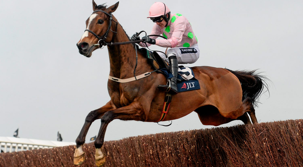 Vautour, seen here with Ruby Walsh on board at Cheltenham, looks sure to thrill racing fans at Kempton on Saturday (SPORTSFILE)