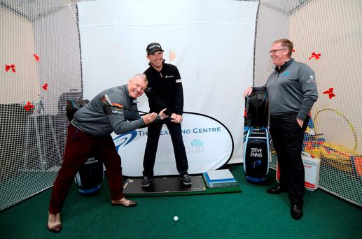 Founder Tadhg Harrington, left, and Stephen Ennis, right, with Padraig Harrington at The Learning Centre in Balcarrick GC (Picture: Caroline Quinn)