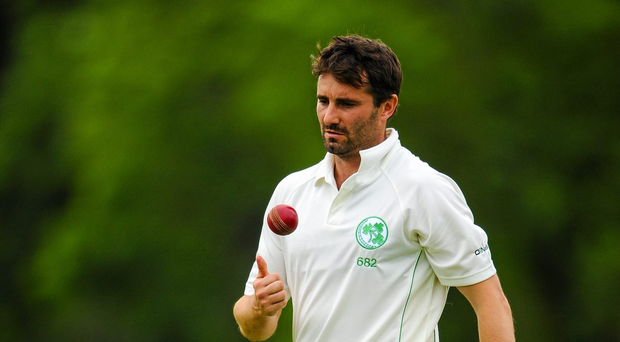 Tim Murtagh prepares to bowl during the ICC InterContinental Cup, Ireland v United Arab Emirates at Malahide Cricket Club in June this year (SPORTSFILE)