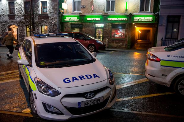 Gardai at the scene of the raid in Athboy, Co Meath. Picture: Arthur Carron