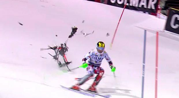 Marcel Hirscher, who had narrow escape when a drone came crashing down just behind him