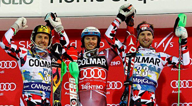 Henrik Kristoffersen (C) of Norway takes 1st place, Marcel Hirscher (L) of Austria takes 2nd place, Marco Schwarz of Austria takes 3rd place during the Audi FIS Alpine Ski World Cup Men's Slalom (Photo: Getty)