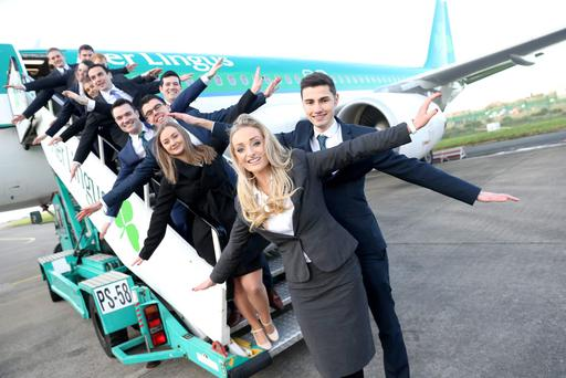 Aer Lingus welcomed its newest group of recruits for the 2016 Cadet Pilot Training Programme. Picture: Jason Clarke