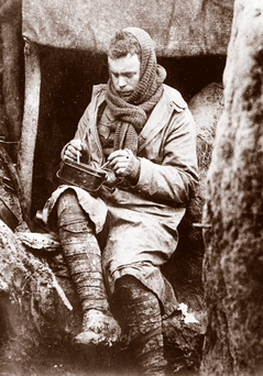 An English soldier having a bowl of soup in a trench, in 1915 Photo: Maurice-Louis Branger/Roger Viollet/Getty Images