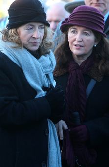 Claire Crowley, widow of Cllr Willie Crowley, is comforted by her sister Jo at his funeral Photo: Damien Eagers