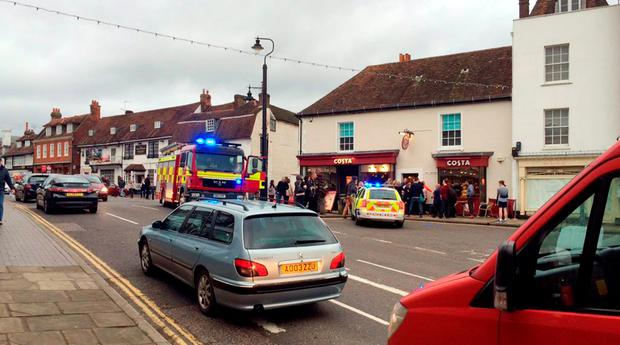 Photo taken with permission from the Twitter feed of Sally Pendleton of a car embedded in the front of a Costa coffee store in Westerham, Kent. Twitter / Sally Pendleton/PA Wire