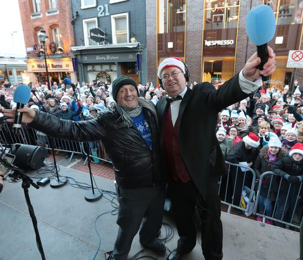Brendan O Carroll and Joe Duffy pictured at RTE Radio 1's Joe Duffy Show Special Christmas broadcast from Grafton Street Dublin Picture Brian McEvoy