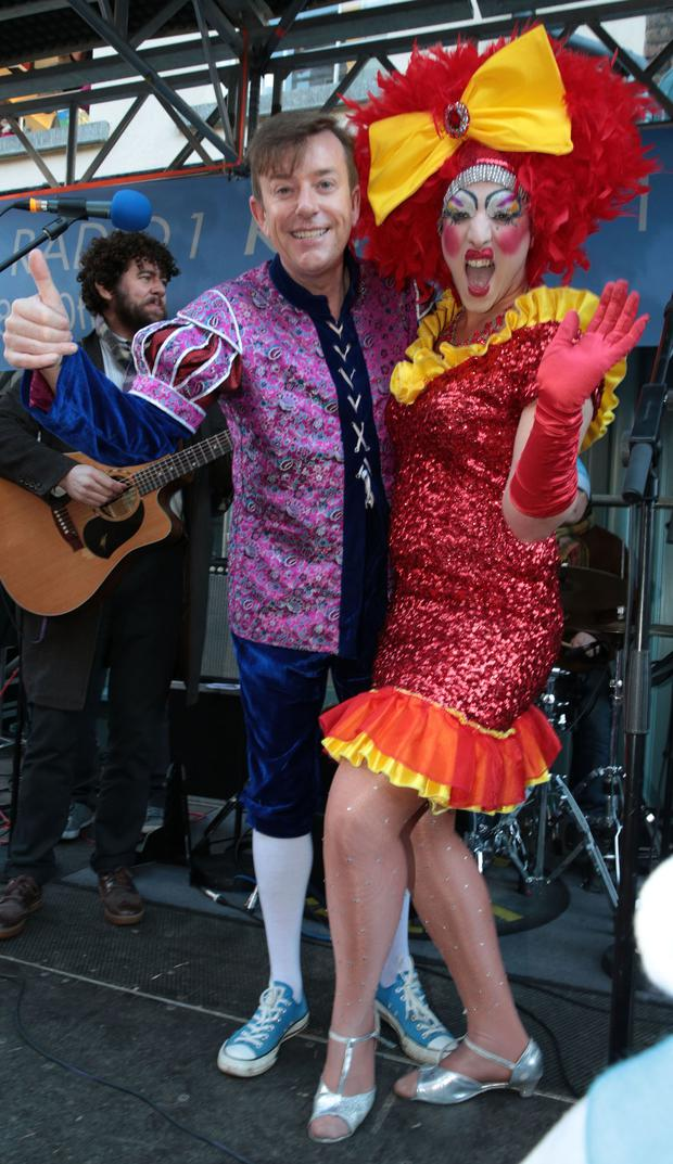 Alan Hughes as Sammy Sausages and Rob Murphy as Buffy pictured at RTE Radio 1's Joe Duffy Show Special Christmas broadcast from Grafton Street Dublin Picture Brian McEvoy No Repro fee for one use