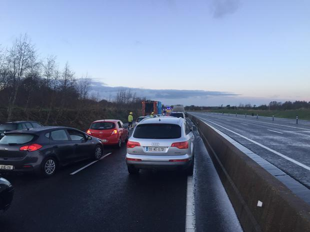 Emergency services at scene of a major collision on the M3