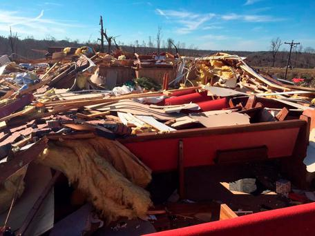 The remains of the Beverly Chapel CME Church on old Highway 4 are seen after a tornado struck Holly Springs, Mississippi