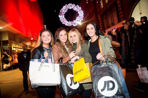 Shoppers Helena Clarke (left), Michaela Grimes, Jade Woods and Claire Byrne, all from Dundalk. Photo: Arthur Carron.