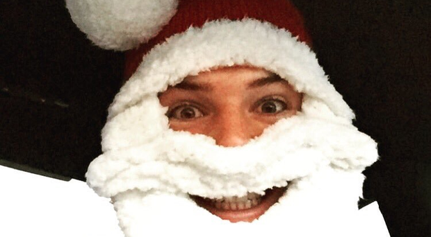 Stoke City keeper Jack Butland was in festive mood this morning