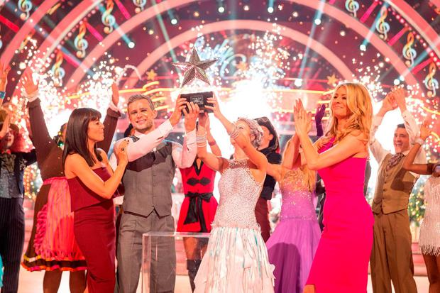 Harry Judd and Joanne Clifton after they won the BBC1 Strictly Come Dancing Christmas Special. Guy Levy/BBC/PA Wire