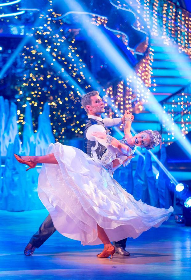 Harry Judd and Joanne Clifton as they take part in the BBC1 Strictly Come Dancing Christmas Special. Guy Levy/BBC/PA Wire