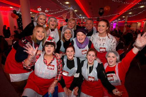 Helpers at the Order of the Knights of St Columbanus Christmas dinner in the RDS yesterday. Pic:Mark Condren