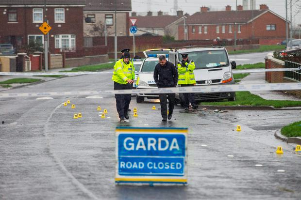 Gardaí at the scene in Ballyfermot yesterday. Photo: Mark Condren