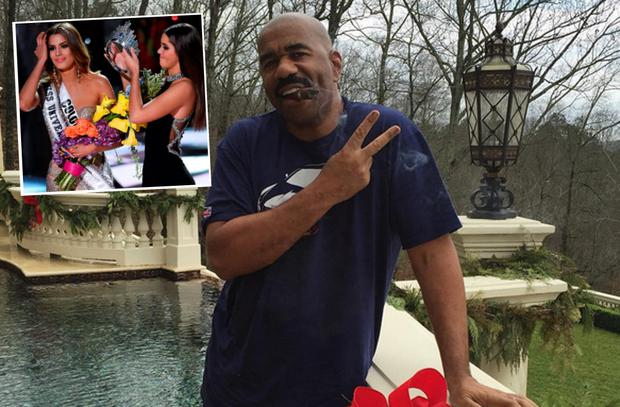 Steve Harvey and Miss Colombia (inset)