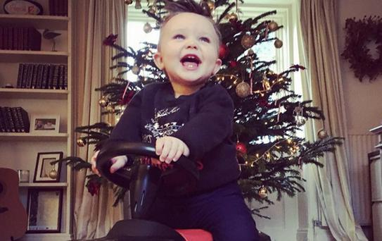 Una Foden's son Tadhg on his first Christmas