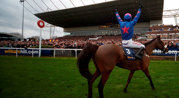 SUNBURY, ENGLAND - DECEMBER 26: Paddy Brennan riding Cue Card celebrates winning The William Hill King George VI Steeple Chase at Kempton Park racecourse on December 26, 2015 in Sunbury, England. (Photo by Alan Crowhurst/Getty Images)