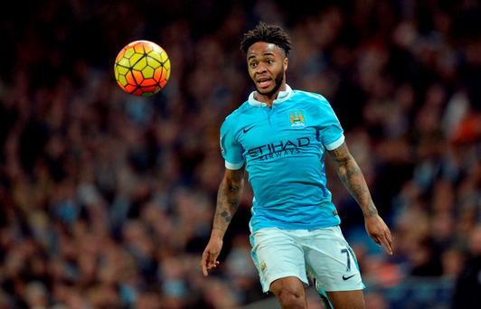 Raheem Sterling was on target for Man City . AFP PHOTO / OLI SCARFF