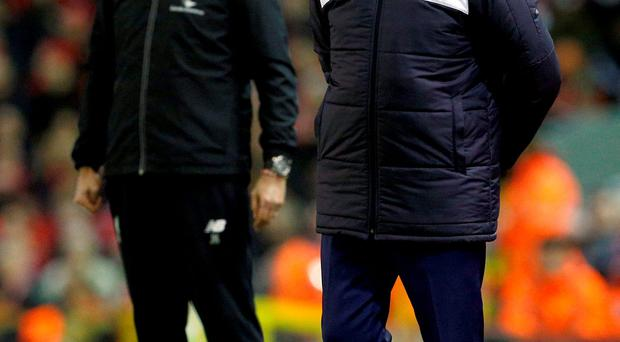 Leicester City manager Claudio Ranieri and Liverpool manager Juergen Klopp look on during the match. Photo: Reuters / Craig Brough