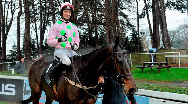 Douvan, with Patrick Mullins up, after winning the Racing Post Novice Steeplechase. Picture credit: Matt Browne / Sportsfile