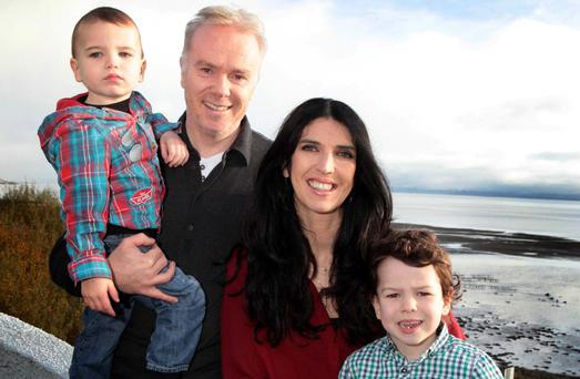 Kathy with her husband Richard Curran and their sons Oirghiall and Dallan. Photo: Declan Doherty