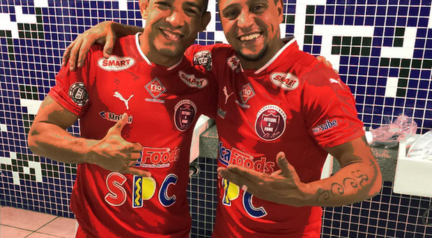 Jose Aldo and Brazilian legend Roberto Carlos. Courtesy of Roberto Carlos' Instagram.