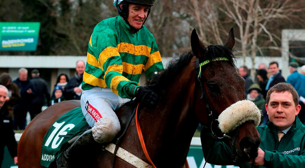 Minella Foru and jockey Barry Geraghty in the parade ring after victory in The Paddy Power Steeplechase during day two of the Christmas Festival at Leopardstown Racecourse. Niall Carson/PA Wire