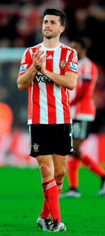 Shane Long applauds the fans after his decisive performance for Southampton against Arsenal Photo: Clive Gee/PA Wire