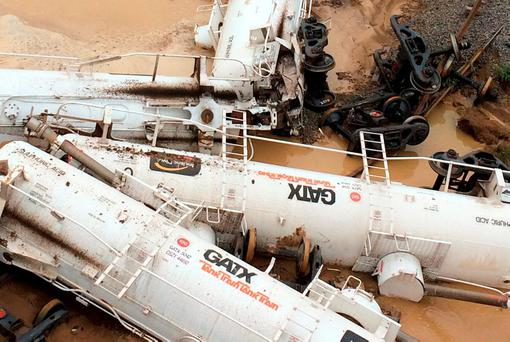 A derailed freight train carrying approximately 200,000 litres of sulphuric acid east of Julia Creek in north-west Queensland. RAIL/AFP/Getty Images