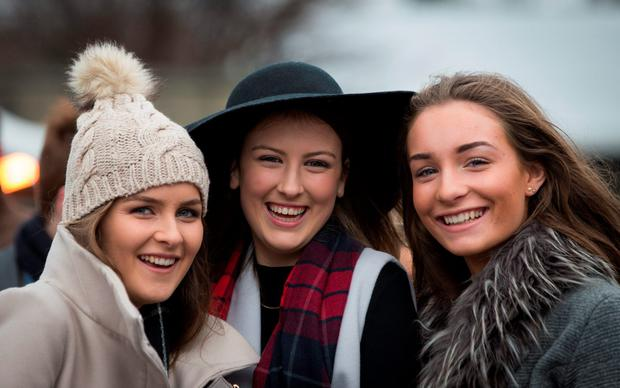 From left: Orla Golden, Niamh O'Dowd & Niamh Walsh today at Leopardstown Christmas Racing Festival day 3. 28/12/ 2015. Picture by Fergal Phillips.