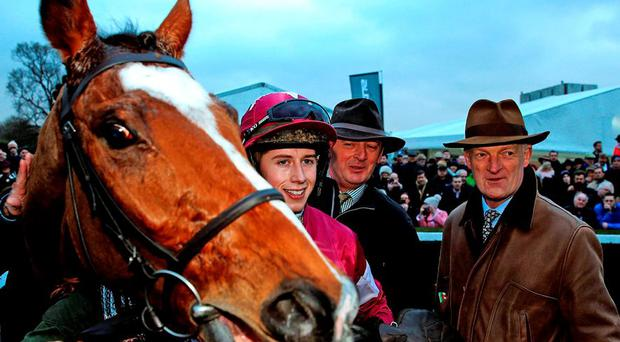 Mark Bolger, Philip Enright, Andrew Ring, Jane Mangan and Danny Mullins make light of the dreadful conditions after riding in the Parkway Shopping Centre Handicap Hurdle at Limerick yesterday. Photo: Brian Lawless/PA Wire