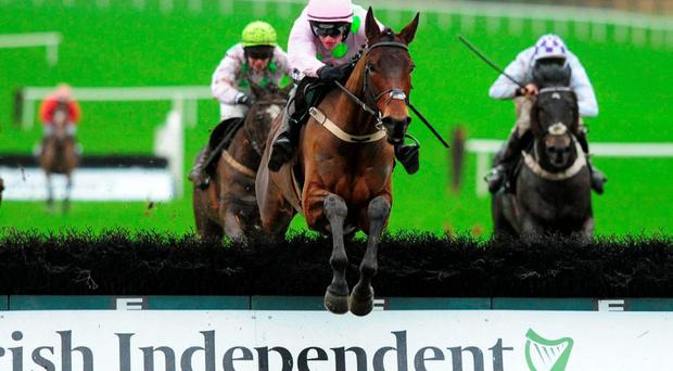 Dicosimo, with Danny Mullins up, clears the last on the way to winning the Irish Independent Hurdle at Limerick