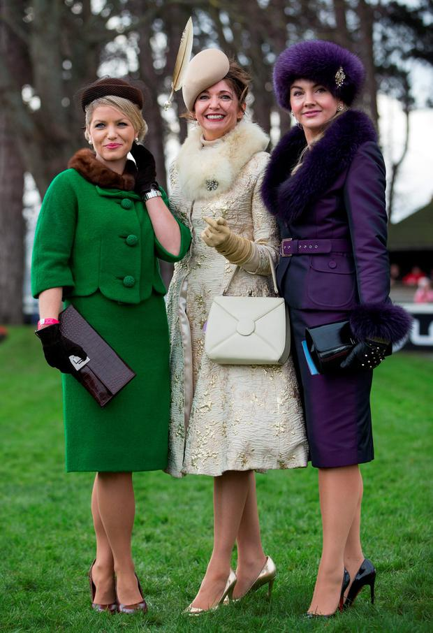 The Most Stylish Lady competition, from left, Catherine Lundon, from Mullingar, Co. Westmeath who came second, Carol Kennelly from Tralee, Co Kerry who won the competition & Louise Allen from Slane, Co. Meath who came thirdat Leopardstown Christmas Racing Festival day. Picture: Fergal Phillips