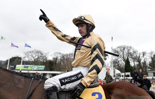 Jockey Ruby Walsh celebrates aboard Nichols Canyon after winning the Ryanair Hurdle. Picture credit: Brendan Moran / SPORTSFILE