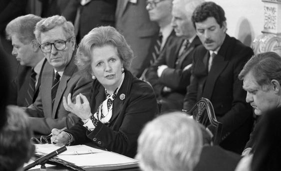 British Prime Minister Margaret Thatcher and Dr Garret FitzGerald at the signing of the Anglo-Irish Agreement. Pic: Matt Walsh
