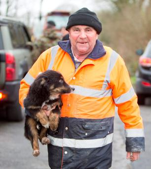 Joe Quinlivan with family pet Lucky. Photograph Liam Burke/Press 22