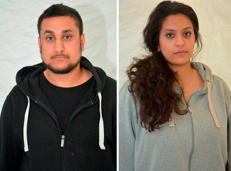 Mohammed Rehman (left), 25, who has been sentenced at the Old Bailey to life with a minimum of 27 years for plotting a terror attack on London to coincide with the 10th anniversary of the July 7 bombings, and his ex-wife Sana Ahmed Khan, 24, who helped to fund the terror plot, who was sentenced to life imprisonment with a minimum term of 25 years. Credit: Thames Valley Police/PA Wire
