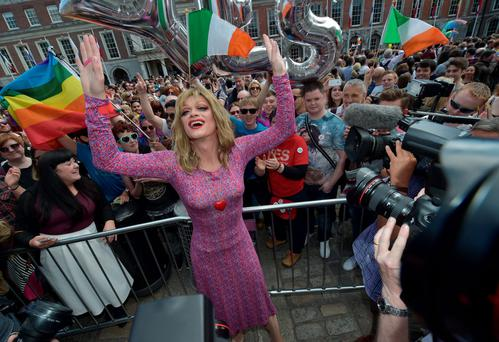 Joy: Panti at Dublin Castle after the 'Yes' campaign victory. Photo by Charles McQuillan/Getty Images