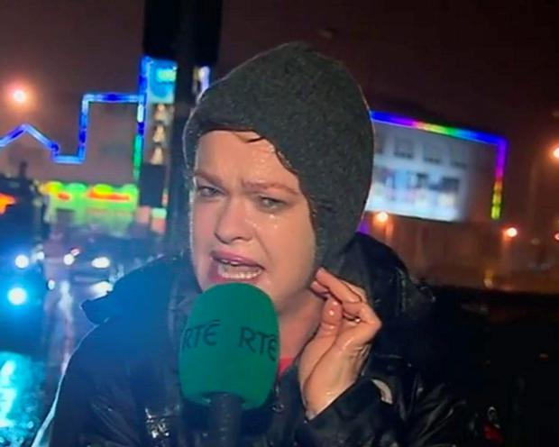 Teresa Mannion reporting on RTÉ news during storm Desmond