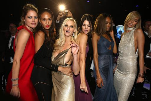 Models Doutzen Kroes, Joan Smalls, Lara Stone, Kendall Jenner, Jourdan Dunn and Karlie Kloss onstage during amfAR's 22nd Cinema Against AIDS Gala (Photo by Andreas Rentz/Getty Images)